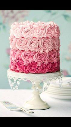 Light to dark pink ombré cake