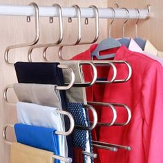 5 Layers Pants Hanger Trousers Towels Hanging Clothes Clothing Rack Space Saver for sale online Small Closet Organization, Closet Storage, Organization Hacks, Bedroom Organization, Storage Rack, Organizing Tips, Tiny Bedroom Storage, Closet Shelving, Wardrobe Storage