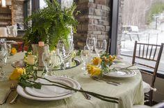 Spring table setting in Ascot Hall - Alpine Ski Club, The Blue Mountains, Ontario - Georgian Bay - Collingwood - Weddings