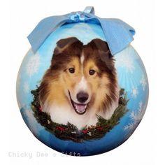 E & S Pets  Sheltie   Shatter Proof Christmas Ball Ornament