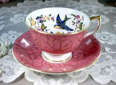 Aynsley Blue Bird and Pink Floral Tea Cup and Saucer, English Bone China Teacup, Made in England, Tea Party, Vintage 1960