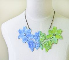lace necklace  large bib steampunk  hand dyed green by LaceFancy, $14.50