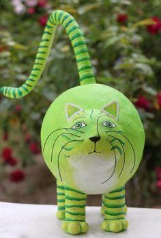 Green Cat - Paper Mache