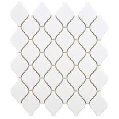 The popular Arabesque Series now comes in a sample size. As a variation on our popular lantern-shaped tiles, the Merola Tile Arabesque Matte White Porcelain Mosaic Tile - 3 in. x 4 in. Backsplash Arabesque, Arabesque Tile, Herringbone Backsplash, Backsplash Tile, Backsplash Ideas, Travertine Backsplash, Tile Ideas, Mosaic Tiles, Wall Tiles