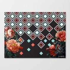 Geo & Flowers Stretched Canvas by Karen Hofstetter - $85.00