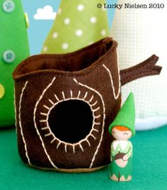 tree cabin and gnome peg doll, teepee and mushroom house also on etsy page