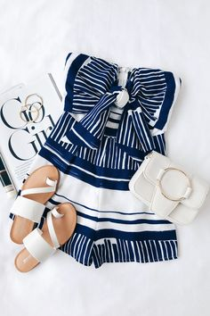 The Delphi Blue and White Striped Tie-Front Strapless Romper is a seaside dream! A cute blue and white striped tie-front romper. Casual Outfits, Cute Outfits, Fashion Outfits, Fashion Trends, Fashion Clothes, Fashion Ideas, Fashion Inspiration, Womens Fashion, Spring Summer Fashion