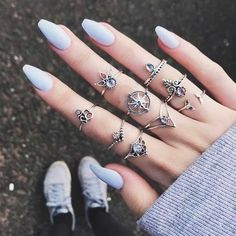 Cheap best Vintage Finger Ring Starry Gem Leaves Flower Butterfly Knuckle Rings Set Fashion Jewelry for Women - NewChic Mobile Cute Acrylic Nails, Cute Nails, Pretty Nails, Bohemian Rings, Bohemian Jewelry, Vintage Bohemian, Vintage Style, Gypsy Rings, Uñas Color Neon