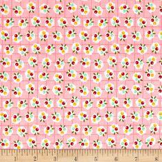 Riley Blake Backyard Roses Berries Pink Fabric By The Yard