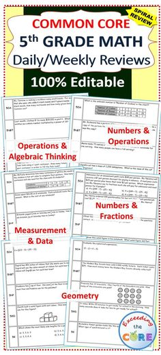 5th Grade Daily / Weekly Spiral Math Review {Common Core} - 100% Editable