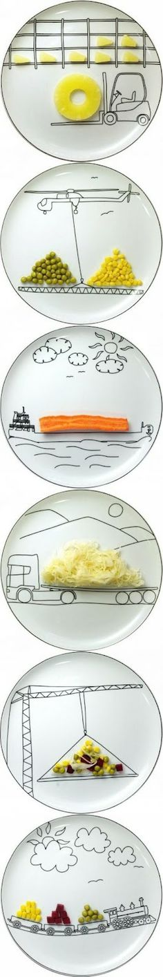 DIY Plate Art - or how to get your kids to eat their veg♥(my son would love this!)