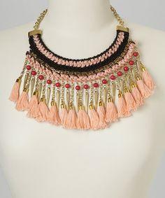 Pink & Black Tassel Bib Necklace by Ten79 #zulily #zulilyfinds