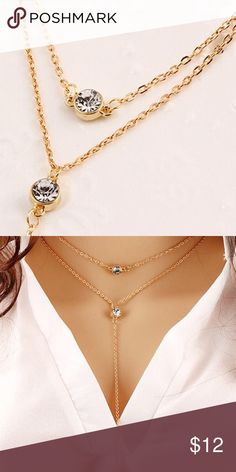 🆕 Lariat Faux Diamond Pendant Lariat pendant gold plated, 19 inches long.  Bundle with a lace choker!  Super fast shipping, this is a boutique item Jewelry Necklaces