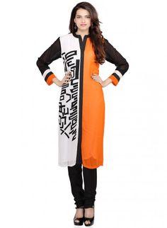 Orange and White Chiffon Straight Cut Kurta