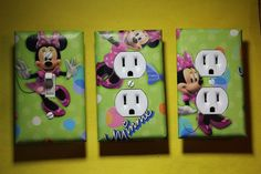 Minnie Mouse 3 pc Set Light Switch Cover girls princess room decor Disney Green