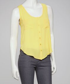 Take a look at this Yellow Sleeveless Button-Up by Jun & Min on #zulily today!  $17.99, regular 37.00