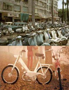 Saigon before 1975 - motobecane mini cady and vespa