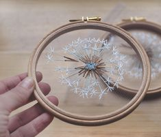 Make a Wish Dandelion Tulle Embroidery Hoop Art - Bridesmaid, Housewarming Gift - OOAK Home Wall Art Decor- Hand Embroidery by Velvet Meadow - Delicate one-of-a-kind hand embroidered hoop Make a Wish for dreamers who believe in little magical - Wooden Embroidery Hoops, Embroidery Hoop Art, Hand Embroidery Patterns, Cross Stitch Embroidery, Embroidery Designs, Flower Embroidery, Modern Embroidery, Embroidery Digitizing, Embroidery Supplies