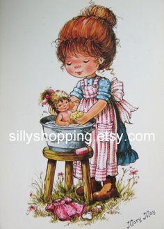 Vintage 70s Big Eyed Girl and Doll Mary May Postcard. $5.00, via Etsy.