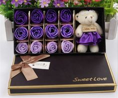 Oliadesign® One Dozen Artificial Roses Flower Gift Box with Bear Plush for Valentine's Day Gift (Purple) >>> Visit the image link more details.