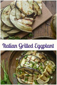 Italian Grilled Eggplant, a fast and easy eggplant appetizer recipe, tossed with fresh spices, olive oil & garlic. So good. #eggplant #grilled eggplant #bbq #appetizer #Italian via @https://it.pinterest.com/Italianinkitchn/