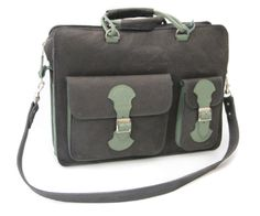 Going back to the classics - old school Briefcase in charcoal and green - padded to protect your laptop. With detachable strap and comfy carry handle. Leather Luggage, Briefcase, Old School, Messenger Bag, Charcoal, Satchel, Laptop, Handle, Comfy