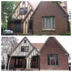 Color schemes that work with brick tudor house paint for Home exterior makeover app