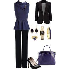 Dark Purple & Black Pants work wear - Polyvore