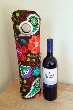 Wine Bags - Brown and Purple Flower INSULATED Wine Tote, Wine Bag, Champagne Bag, Gift Sack, Hostess Gift, Housewarming Gift