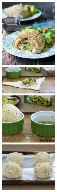 Super easy crescent pockets of cheesy chicken and broccoli are great for weeknight dinners!