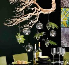 hanging decorations from a manzanita branch