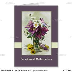 For Mother in Law on Mother's Day Fine Art Custom Greeting Cards. Flower painting. Artist Paul de Longpré. Circa 1900. Matching cards, postage stamps , envelopes and other products available in the Holidays / Mother's Day Category of the oldandclassic store at zazzle.com