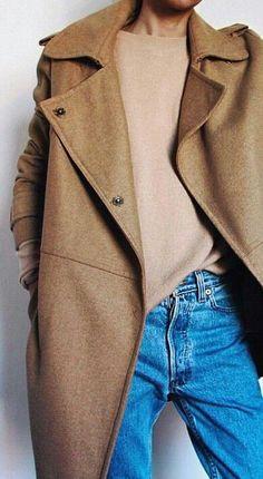 camel coat. knit. boyfriend jeans.