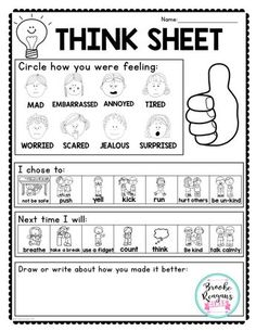 Think sheet to use after students have gotten calm in a calm down spot. Great visuals for students to use to help them process their feelings. Classroom Behavior Management, Student Behavior, Behaviour Management, Coping Skills, Social Skills, Think Sheet, Classroom Community, School Psychology, Psychology Books