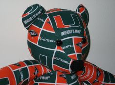 Teddy Bear Miami Hurricanes University College by DoOver on Etsy, $35.00 DoOver.Etsy.Com