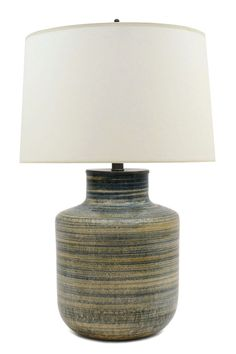 Stoneware Table Lamp In Blue Beige And Yellow Stripes By Zaalberg Holland Lampshade
