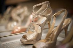 Love the modern yet old-fashioned feel of these gold Jimmy Choo shoes.