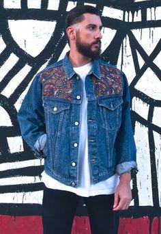 90s Customized Vintage Wrangler paisley pattern denim jacket