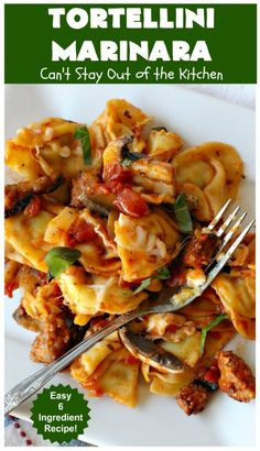 Tortellini Marinara – Can't Stay Out of the Kitchen 6 Ingredient Recipe, Corn Pudding Recipes, Italian Entrees, Marinara Recipe, Spinach Casserole, Sausage Spaghetti, Tortellini, Quick Easy Meals, Food Print