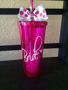 Customized Acrylic 20 oz Bride To Be or Brides Maids Cup w/straw and diamond ring