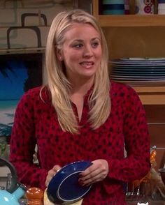 Penny's red and black printed longsleeve shirt on The Big Bang Theory.  Outfit details: http://wornontv.net/11529/