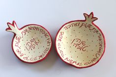 paper mache pommegranates shaped bowls withe happy new year wishs in hebrew,liatart.com