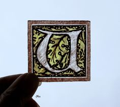 Stained Glass Window Fragment, Alphabet, U, hand painted, new fragment : 1N11. $10.00, via Etsy.