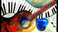 MUSIC ABSTRACT Heart and Soul acrylic painting of a Guitar and Piano Step by Step Acrylic Painting on Canvas for Beginners. Free Painting Party. Easy paintin...