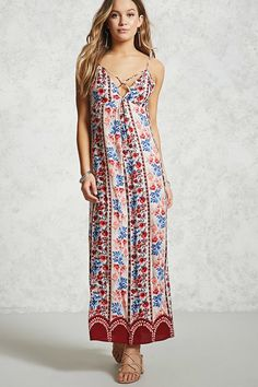 Forever 21 Contemporary - A woven maxi dress featuring an paneled floral print, a strappy V-neckline, an inverted front pleat, adjustable cami straps, and a concealed back zip closure.
