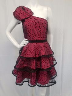 PEARL Georgina Chapman Hot Pink Black Dot 1 Shoulder 80s Style Prom Dress 10 #PearlbyGeorginaChapmanofMarchesa #Gown #Formal