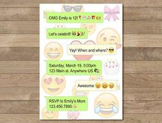 Emoji Birthday Invitation Cell Phone Invitation by Printerama