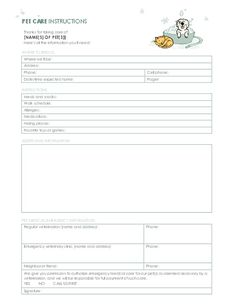 pet sitting instructions templates franklinfire co