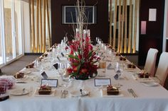 Hilton Waikiki Beach - Hawaii Venues - Modern wine red and gold wedding reception decor