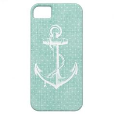 Mint Linen Texture & Vintage Anchor Illustration iPhone 5 Cover